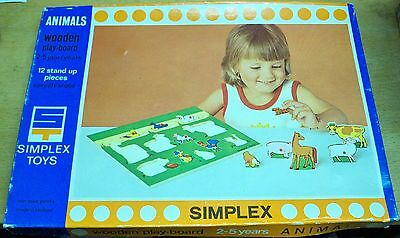 SIMPLEX TOYS Nº 1214 WOODEN Play-Board PUZZLE 12 pieces The ANIMALS wood vintage