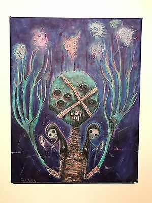 GUS FINK Art ORIGINAL painting Abstract Surreal Outsider Lowbrow SPIRIT OF RA