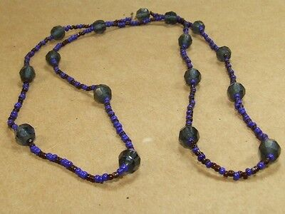 Vintage Art Deco Blue Faceted Glass Seed Bead Necklace *