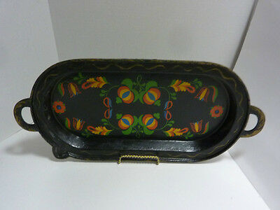 Vintage  Oval CAST IRON GRIDDLE with HAND PAINTED Folk Art 20""