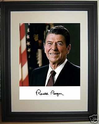President Ronald Reagan Autograph  Framed Photo Picture