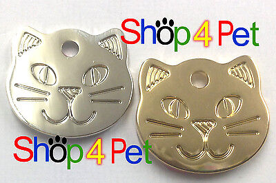 Pet ID Tag Engraved Quality Highly Polished Chrome Solid Cat Shape Face Tags • EUR 3,23