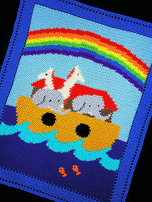 Crochet Patterns - NOAH'S ARK Color Graph/Chart BABY AFGHAN Pattern