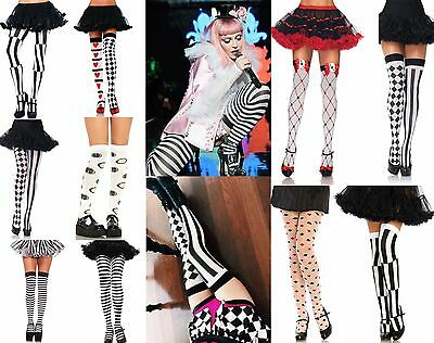 Alice In Wonderland Queen Of Hearts Mad Hatter Costume Hold Up Stockings Tights