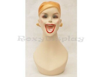Female Fiberglass Mannequin Head Vintage Wig Hat Earrings Necklace Display #Y5G