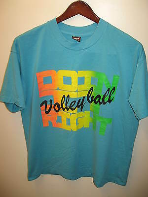 Volleyball Doin' It Right Vintage Retro 1980s Day Glo Wham Beach T Shirt XL USA