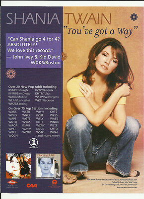 SHANIA TWAIN You've Got a Way TRADE AD POSTER For Notting Hill OST CD MINT 2001