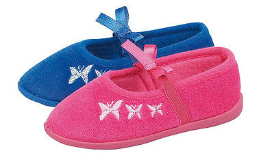 Joblot Wholesale Girls Flat Bow Bar Butterfly Slipper Sizes 4-9 x18pairs X2031