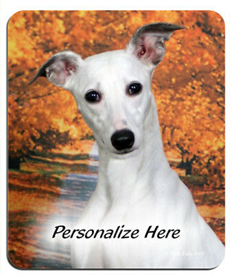 Whippet  ( 10 )   white     Personalized  Mouse Pad