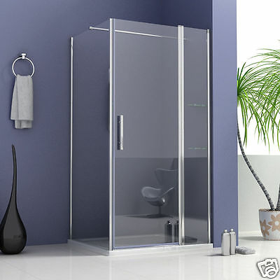Pivot Shower Door Enclosure Walk In Frameless Glass Screen Side Panel Stone Tray
