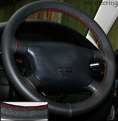Fits Skoda Octavia Black Italian Leather Steering Wheel Cover Red Stitch
