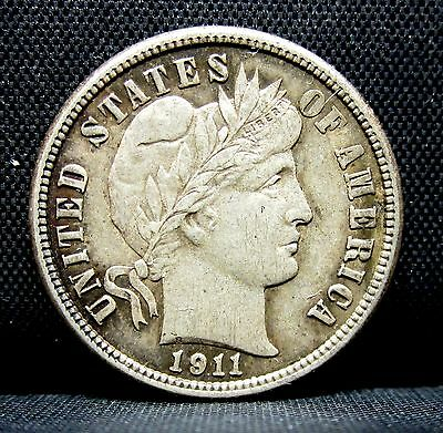 1911-P Barber Dime ✪ Au Almost Uncirculated ✪ Full Liberty L@@k 10C◢Trusted◣