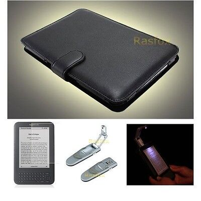 Amazon Kindle Keyboard Genuine Leather Cover Case+Reading Light