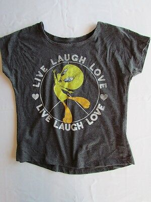 """Womens Looney Tunes """"Live Laugh Love"""" Warner Bros. Graphic Tee T-Shirt Top NWT"""