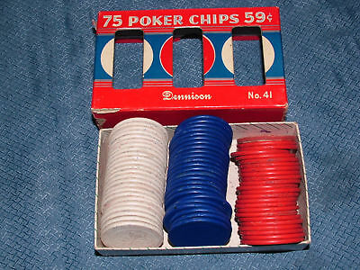 VINTAGE TOY DENNISON NO 41 POKER CHIPS in BOX