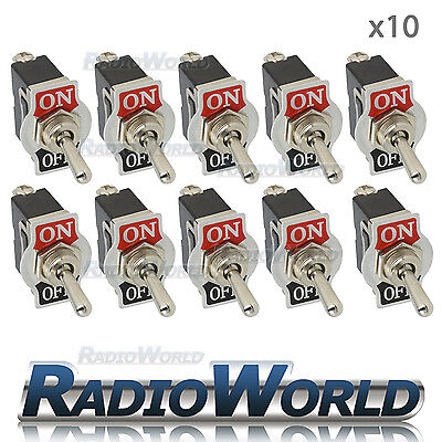 10x Heavy Duty Toggle Flick Switch 12V ON/OFF Car Dash Light Metal 12 Volt SPST