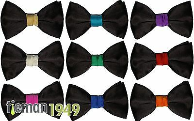 Italian Satin Black Bow Tie with Coloured Colored Knot Fully Adjustable Neckband