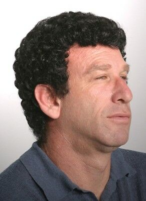 Mens Male Short Hair Tight Small Curly Curls Wig Ferrell Black Gray Brown Justin