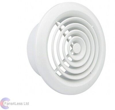 """Internal Ventilation Grille Round White 4"""" 100mm Duct Extractor fan Bathroom"""