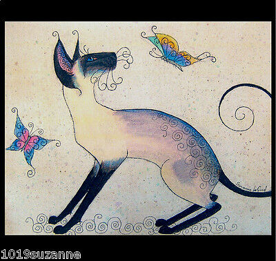 Large Unmounted Siamese Cat And Butterflies Painting Print By Suzanne Le Good