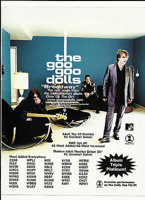GOO GOO DOLLS Broadway TRADE AD Poster for Dizzy Up the Girl CD 1999 MINT