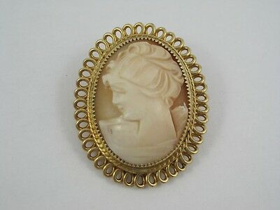 """Retro Catamore 1/20 12k GF Cameo Filigree Oval Brooch Pin 1.25"""" Detailed Carving"""