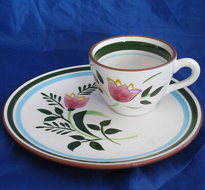 STANGL COUNTRY GARDEN SNACK PLATE AND CUP SET