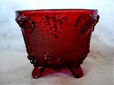 Ruby Red Stained Grapes Designs Pressed Glass Footed Bowl
