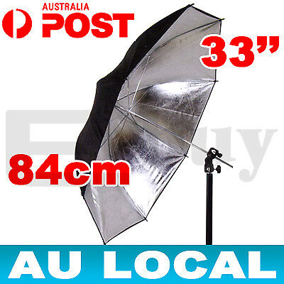 2x Photography Lighting Studio Black/Silver Reflector Umbrella From Melbourne