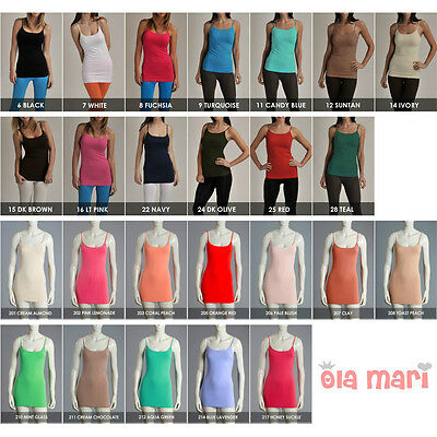 74d968196d High Quality Seamless Spandex Cami Camisole Layering Long Tunic Tank Top  ONESIZE