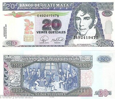 GUATEMALA 20 Quetzel Banknote World Currency Money BILL South America Note p112b