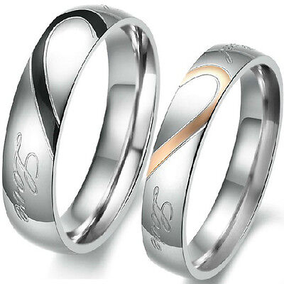 5-15 Stainless Steel Wedding Engagement Ring Pair Set Heart Anniversary Couple
