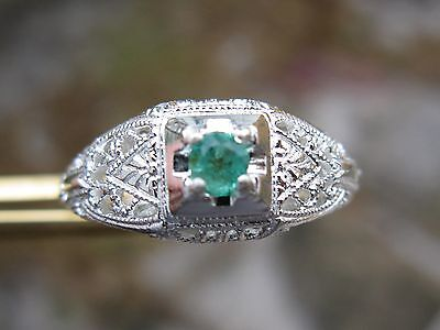 .12ct NATURAL EMERALD RING / STERLING SILVER, ART DECO & VINTAGE CARVINGS Sz6.75