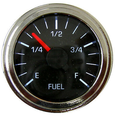 "Fuel Gauge, 2""/52mm, programmable, black/chrome, LED, low fuel warning,001-F-BC"