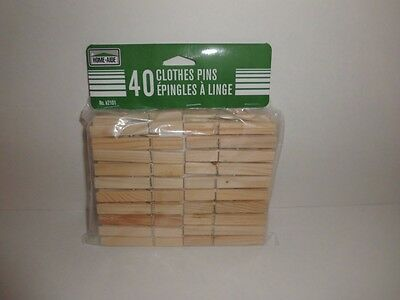 40 Pcs Wood Clothespins Wooden Laundry Clothes Pins Spring Regular Size