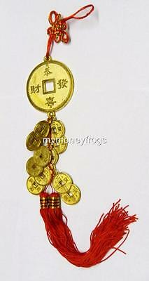 """16"""" Feng Shui Chinese Asian Lucky Money Tied Gold Coins Charm Red Tassel #TC"""
