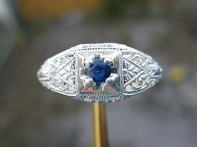 .15ct NATURAL BLUE SAPPHIRE RING IN STERLING SILVER, PRETTY BLUE COLOR, Size 6.5
