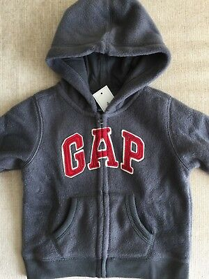 NWT Baby GAP Soft Fleece Arch Logo Hoodie Zip-Up Jacket Boys 12-18 18-24 months