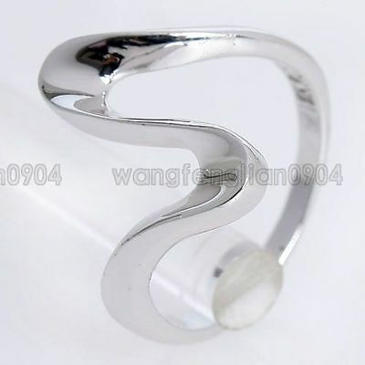18K White Gold Plated New Arrival Fashion Unique Bent Ring Free Shipping 91539