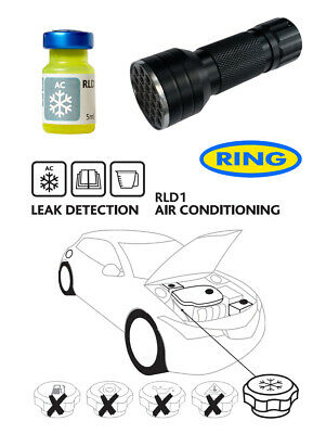 UV Dye & UV Torch Kit Ultra Violet Leak Detection Dye For Air Conditioning RLD1