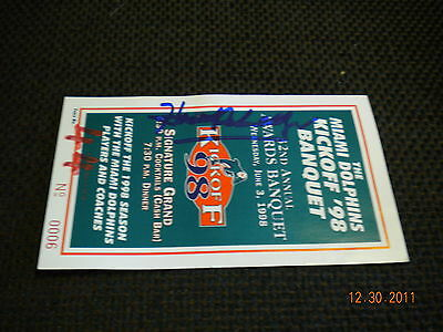 Miami Dolphins 1998 Awards Banquet 6/3/98 Ticket, Autographed !!!