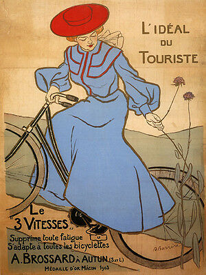 Bicycle Bike Lady Red Hat French Tourist Ad Large Vintage Poster Repo FREE S/H