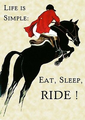 Horse Jumping Eat Sleep Ride Sport Vintage Poster Repro FREE SHIPPING
