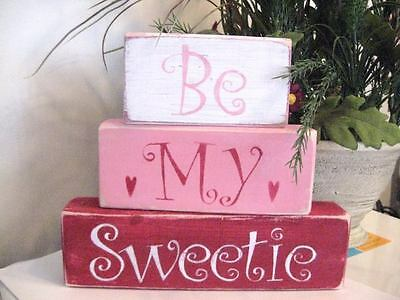 Primitive Valentine Shelf Blocks Be My Sweetie Hearts