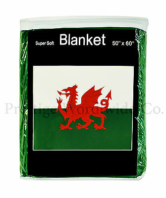 Wales Flag Fleece Blanket NEW 5 ft. x 4.2 ft Welsh Red Dragon Travel Throw Cover