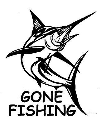 Marlin Gone Fishing Sticker Decal For Car, Trailer, 4Wd, Boat Brand New