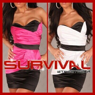 New Mini Strapless Dress Sexy Size 6 8 10 12 Cocktail Club Party Black & White
