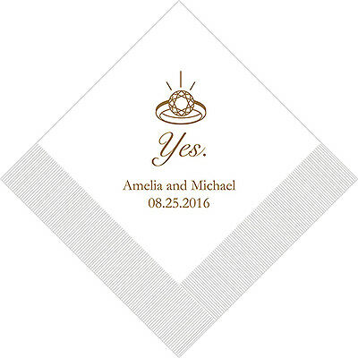 100 Yes to Ring Personalized Wedding Cocktail Napkins