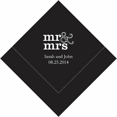 100 Mr and Mrs Personalized Wedding Cocktail Napkins