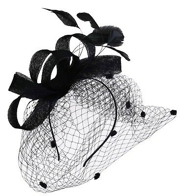 Melbourne Cup Carnival Race Ascot Wedding Feather Fascinator Head Band BLACK